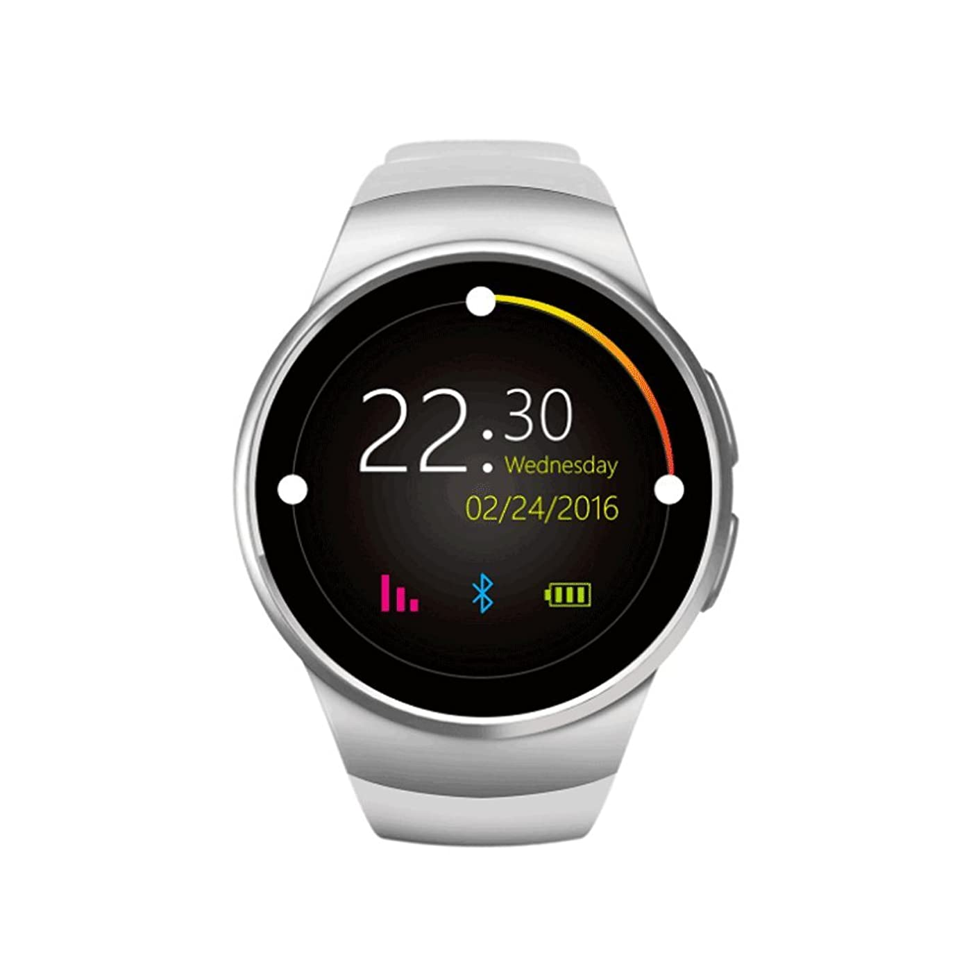 GAIXIA Smart Watch Bluetooth Mobile Phone Heart Rate Monitoring Dual System Compatible Explosion Watch Smart Watch (Color : Silver)