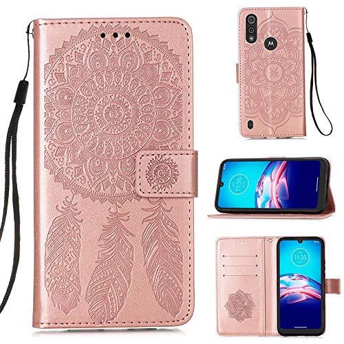 Molg Compatible con Funda Motorola Moto E6S 2020 Funda de Cuero PU con Diseño de Atrapasueños en Relieve [Correa de Muñeca] [Portatarjetas] [Cierre Magnético] Funda Antirrayas-Oro Rosa