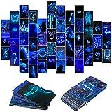 50 x blaue Neon-ästhetische Bilder, Wand-Collage-Set,