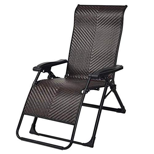 GLLSZ Rattan Wicker Sunbathing Chair Folding Lounge Chair Adjustable Zero Gravity Chair Patio Chaise Lounge Chair Outdoor Recliner Beach Indoor Lawn-A