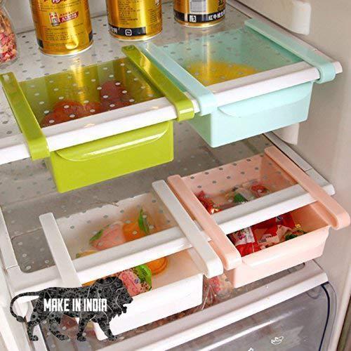 OSLEN® Dixa Plastic Refrigerator Storage Rack | Fridge Space Saver Organizer Slide Storage Rack Shelf Drawer | (Set of 4, Multicolour)