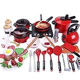 Wosiky Children's Mini Kitchen Toys Pot Set Juego de Utensilios de Cocina Hot Pot para Jugar Cocina DIY Food Simulation Utensilios de Cocina 50 Piezas/Set