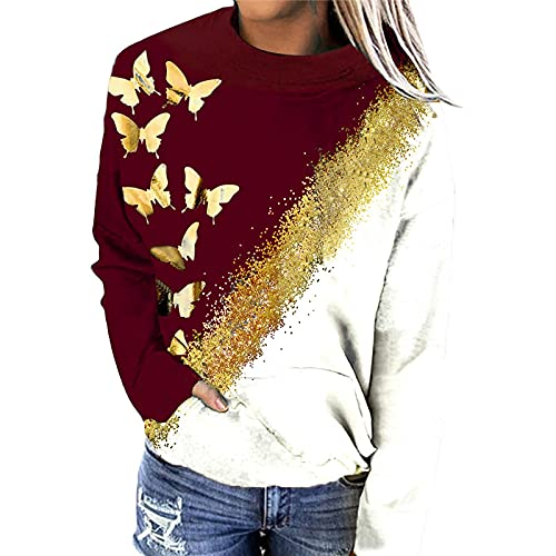 YFZCLYZAXET Suéter Hoodie Capucha Camiseta con Estampado De Mariposas Suéter De Cuello Redondo Tallas Grandes Señoras De Manga Larga Moda Casual Retro Top XXL Rojo