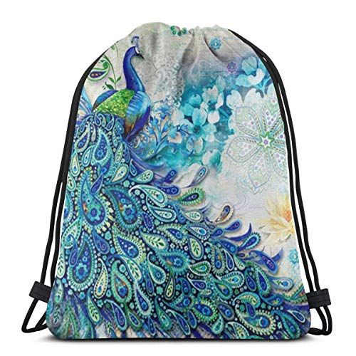Lmtt Bolsas con cordón y flores Bolsa de almacenamiento azul de primavera Bolsa con cordón Mochila Bolsa de viaje Deporte Gimnasio Mochila