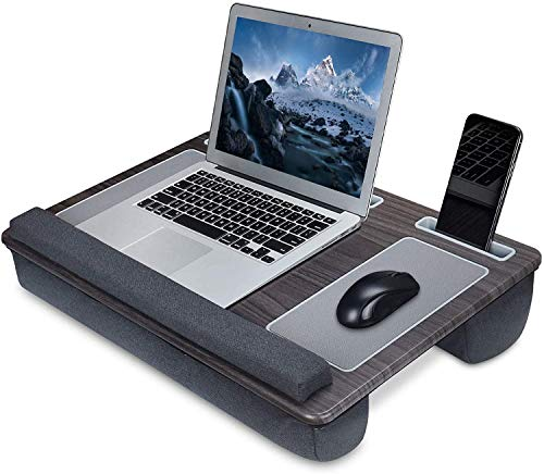 Lap Desk- Lap Desk for Laptop and Writing with Cushion Pillow, Left and Right Mouse Pad, Wrist Rest, Tablet, Pen and Phone Holder, Fits up to 17 Inch, Laptop Stand for Bed Sofa Tray