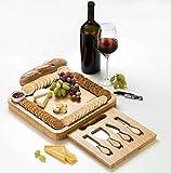 JIYUERLTD Käsebretter und Käsemesser und Öffner, Hackbretter,Bambus Schneidebretter, Käseservice, Platte für Wein,Nusse,Fleisch.13.4x13.4x1.5 Zoll.