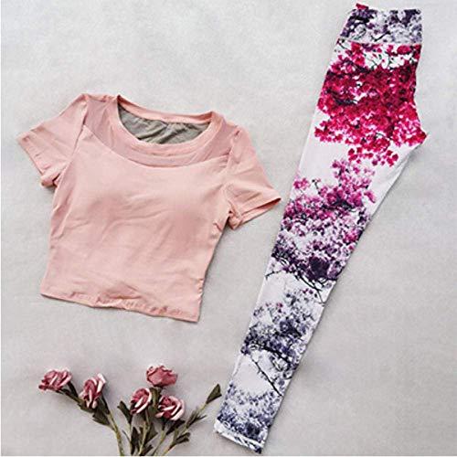 PJPPJH Nahtlose Sicherheitshose, Yoga-Shirt Sporthemd Frauen Yoga-Sets mit Fitness-Print Jogging-Kleidung für Frauen Nahtloses Sport-Set