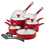 SilverStone Ceramic Nonstick Cookware Pots and Pans Set, 12 Piece, Chili Red