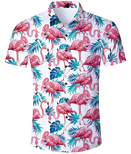 uideazone Herren Flamingos Kurzarm-Shirt Lässiges Kurzarm Flamingos Sommer Hemd