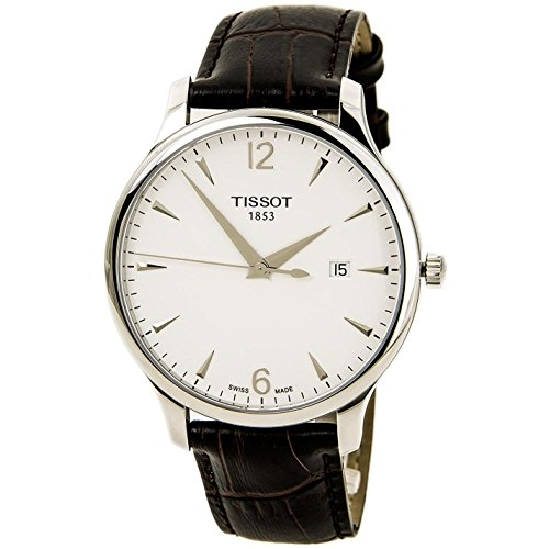 Tissot T Classic Tradition Silver Dial Brown Leather Mens Watch T0636101603700: Watches