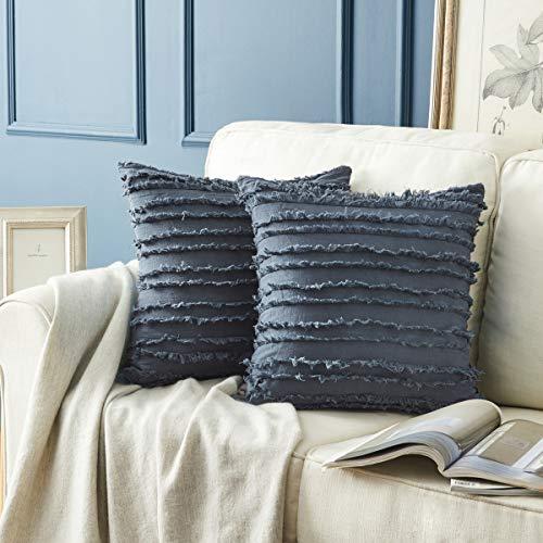 GIGIZAZA Dekorativer Überwurf-Kissenbezug, 50 x 50 cm, grau-blau, quadratisch, Couch-Kissenbezüge, Baumwolle