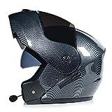 ABDOMINAL WHEEL Bluetooth Casco Moto,Casco Moto Modular ECE Homologado,Doble Visera Casco Moto Abatible,Unisexo para Motocicleta Bicicleta Scooter Cascos de Moto Modulares F,L=(58~59)