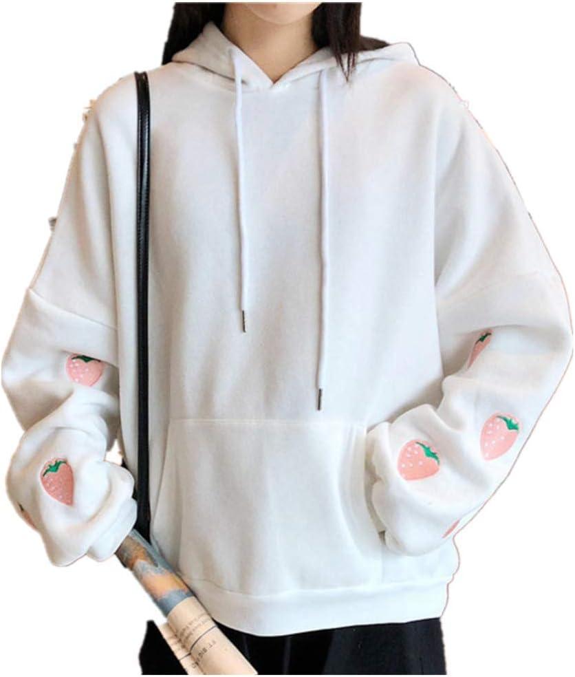 NC Strawberry Embroidery Lavender White Sweatshirt Spring Autumn Women Kawaii Loose Long Sleeves Tops Oversized Hoodies