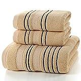 Juego de 3 piezas de toallas de algodón gris para hombres Toalla 2 piezas Toalla de mano Toalla de mano 1 pieza Toalla de baño Toallas de ducha para acampar Baño, chocolate, juego de toallas 3 piezas