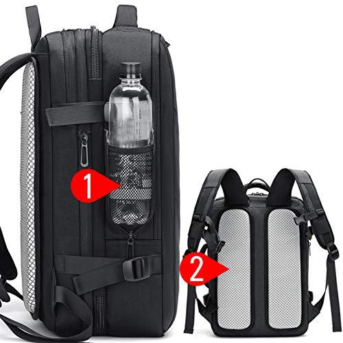 Backpack Men's Backpack Waterproof Backpack Expandable Capacity, 16-inch Laptop, Double Shoulder Strap Backpack Computer Outdoor Travel Backpack (Color : Black, Size : Non-scalable)