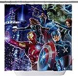 vrupi Marvel Held Duschvorhang Iron Man Captain America Hulk Raytheon Verdickung Duschvorhang Wohnung Dekoration 71x71inch waschen wasserdichtes Gewebe mit zwölf Kunststoffhaken