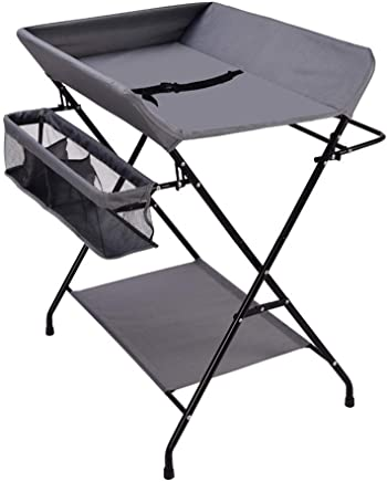 LNDDP Gray Baby Changing Diaper Table  Foldable Cross Leg Style Changing Station  Portable Dresser Newborn 0-3 Years Old