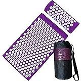 XSXCQ 2 in 1 Yoga Akupressurmatte und Kissenmassage Set Muskelentspannung Akupunkturmatte für Bewegung und Yoga Verspannung lösen Fitness Versorgung,Lila