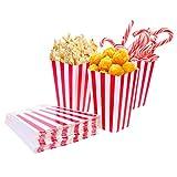 Tankerstreet 01 24 Stück Popcorn-Boxen Rot und Weiß Gestreift Papier Taschen Tüte Candy Container...