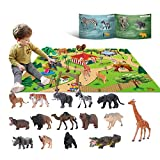 YouCute 15 Animal Toys for Boys Realistic Safari Animals Farm Zoo Educational Toy Gift with Play Mat for 2 3 4 5 6 7 Year Old Girls Toddlers Kids