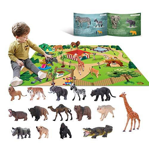 YouCute 15 Animal Toys for Boys Realistic Safari Animals Farm