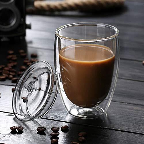 IWINO 250Ml 350Ml 450Ml Hittebestendig Dubbelwandig Geïsoleerd glas Espresso Mokken Latte Koffie Brillen/Whisky 350 ml met deksel