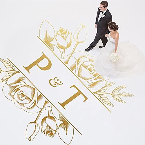 Calcomanía para pista de baile, pegatina de vinilo para suelo de boda, decoración de pista de baile para fiesta, decoración de plantas, nombre personalizado-57x60cm