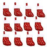 VEYLIN 12 unidades de calcetines de Navidad para decoración de chimenea de fieltro