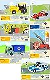 Pebaro 6 STK 3D Laubsägevorlagen Set Bus Feuerwehr Rennauto Bagger LKW Polizei
