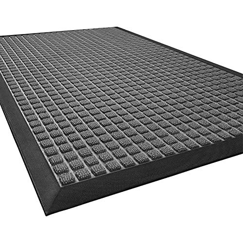 DEXI Durable Front Door Mat, Waterproof, Low-Profile, Heavy Duty Doormat for Indoor Outdoor, Easy Clean Rug Mats for Entry, Patio, Busy Areas, 35X23, Squares Grey