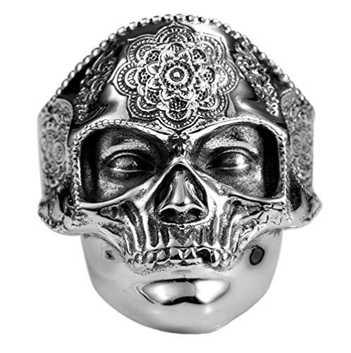 CHXISHOP Anillo de dedo de plata de ley 925 con índice abierto, diseño de calavera creativa, para hombre y mujer, anillo de plata de ley de hip-hop punk personalidad, talla única