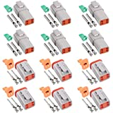Glarks 54Pcs 4 Pin Way Sealed Gray Male and Female Auto Waterproof Electrical Wire Connector Plug 22-16AWG Connector for Motorcycle, Scooter, Car, Truck, Boats
