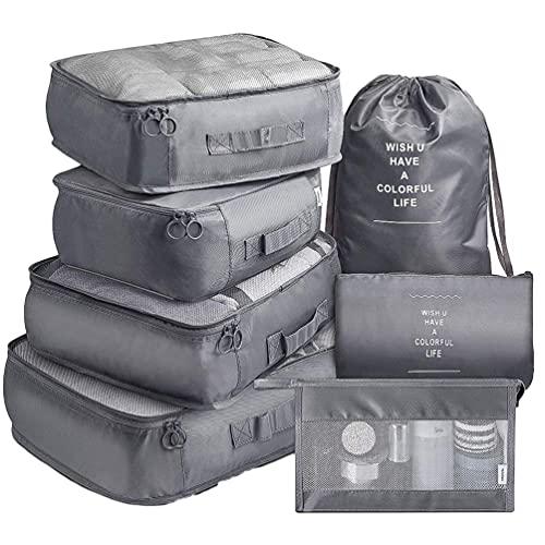 Ketamyy - Set di 7 cubi da viaggio per imballaggio, organizer per bagagli, sacchetti di compressione, per vestiti, valigie, articoli da toeletta, campeggio, grigio/A
