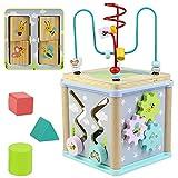 Juguetes Montessori Bebes Educativos de Madera Laberinto Cubo de Actividades 5 EN 1 Laberinto Regalo para Bebés Niños 3 4 5+ Años