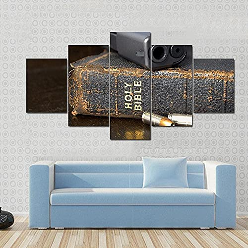 Cuadro de arte de pared con impresión de lienzo para decoración del hogar pistola y munición con biblia 5 piezas pintura de arte de pared de lienzo