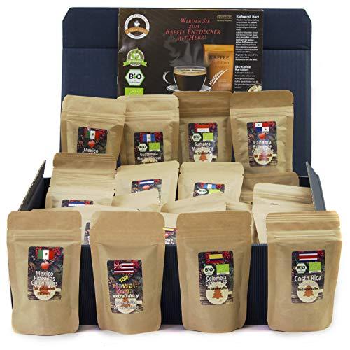 C&T Kaffee-Geschenkset Bio/Fair 24 Päckchen á 25 g (Gemahlen) mit 24 Biologischen, Raritäten- und Fair gehandelten Kaffees plus Überraschung | Weihnachts-geschenk | Geschenkbox