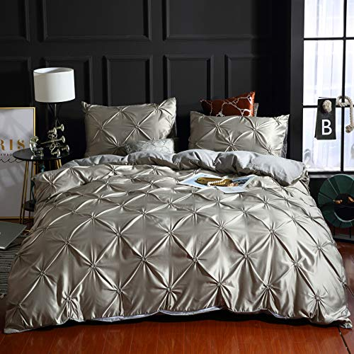 SMNJF 3 Piece Pinch Pleated Duvet Cover with Zipper Closure, Grey Pintuck Pinch Pleat Pattern Bedding Comforter Cover Set (Grey/Gray, Full/Queen, 90'x90')