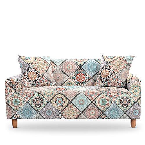 Qier Sofabezug Stretch-Schonbezug, Universal Sofa Armchair Home Decoration Protector, Elastische Chaise Corner Cover, 3D Mandala, Grau, 2-Sitzer 57,72 Zoll