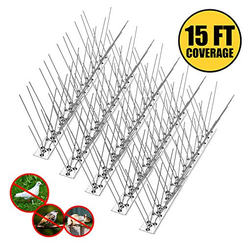 Remiawy Bird Spikes for Pigeons Small Birds Cat,Anti Bird Spikes Stainless Steel Bird Deterrent Spikes-Cover 15 Feet (14 Pack)