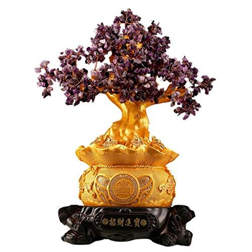 LXZSP Estilo Chino Amatista Árbol de Cristal Bonsai Árbol de Dinero para la Riqueza y la Suerte Feng Shui Apertura del árbol del Dinero Tienda Sala de Estar en Riqueza y Suerte
