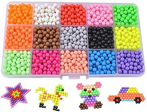 Abalorios Cuentas de Agua,Perlas de Agua 5 Colors 3000 Cuentas Mágicas de Almacenamiento de Plástico con Herramientas para Niños Craft Kits