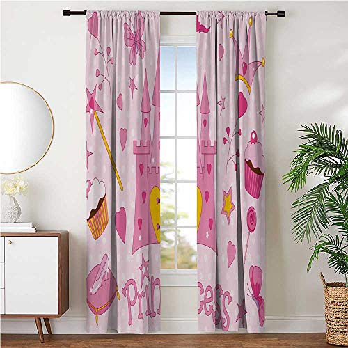 Room-Darkening Curtains Energy Efficiency Print for Night Shifts Late Sleepers, Nursery Little Princess Tiara Slippers Castle Butterfly Heart Lollipop Wand Cupcake W96 x L96 Inch, Yellow White Pink
