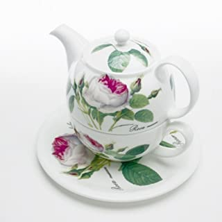 Roy Kirkham Redoute Rose Tea for One Teapot, Cup & Saucer in Fine Bone China