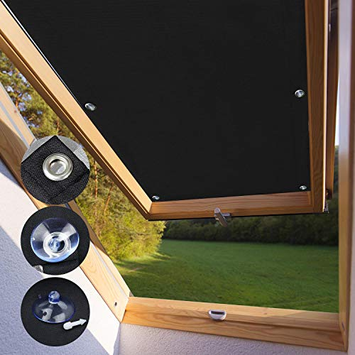KINLO Techo Solar Persiana Cortina Aislamiento Térmico Protector Solar Apagón para Claraboya Ventanilla del Coche Protección UV con Ventosa sin Perforación o Pegamento S06 y 606-96 x 93cm - Negro