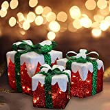 MorTime Set of 3 LED Gift Boxes Christmas Boxes with Green Bows, Lighted Red Boxes with 60 LED Light String for Christmas Indoor Outdoor Home Yard Party Decoration