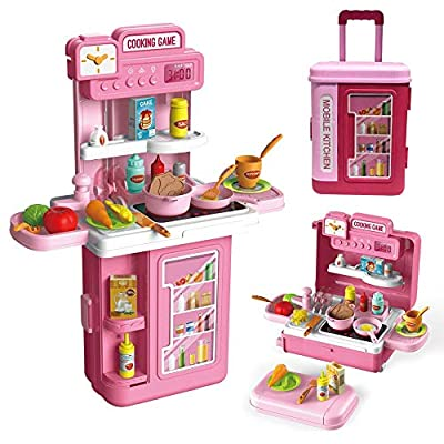 Kids Kitchen Toy Set,3 in1 Realistic Lights & Sounds,Pretend Play Kitchen Toy,with 41pcs Food and Kitchen Accessories,Play Sink Running Water, for 3.4.5.6 yrs Girls/boy
