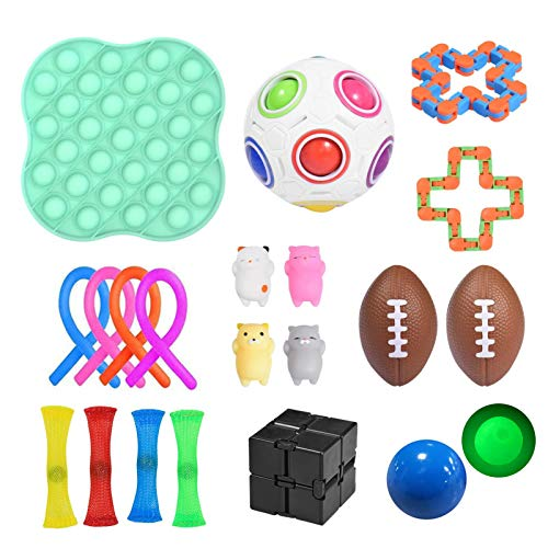 Yourenyuan Sensory Toys Set for Autism, Fidget Toys for Kids and Adults, Pop Bubble Fidget Sensory Toy, Squeeze Ball, Flippy Chain, Assortment for Birthday Party Favors