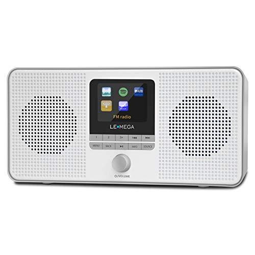 LEMEGA IR4 Tragbares Stereo Internetradio, DAB/DAB+/UKW-Digitalradio, WiFi, Spotify Connect, Bluetooth, Doppel Wecker, Schlaf/Schlummer, 60 Voreinstellungen, Kopfhörer, Akku und Netzstrom -Grau