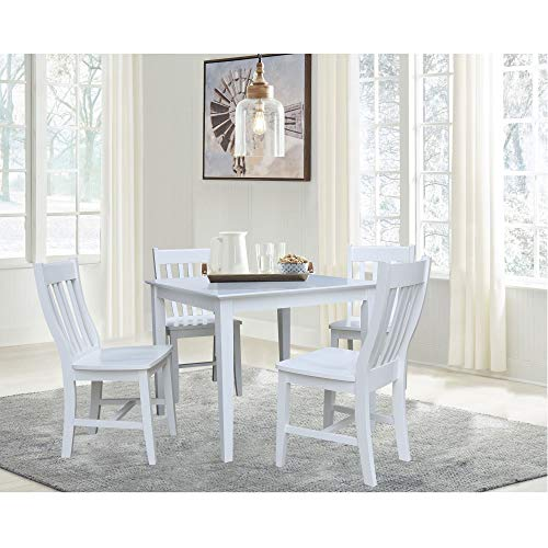 Unknown1 36' X Dining Table with 4 Chairs 5 Piece Set White Traditional Square Wood Finish Solid
