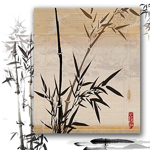 Estores De Bambú Persianas QIANDA Protección Privacidad Venecianas Enrollable Cortina Diseño De Impresión con Tracción Lateral Tabique, Alto X Ancho Personalizado (Color : B, Size : 60cm x 135cm)